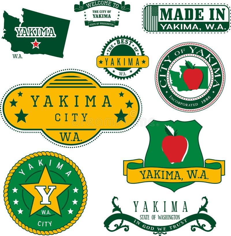 亚基马, WA的套普通邮票和标志 库存例证