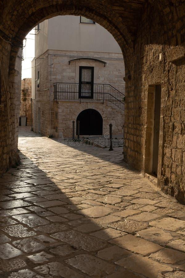 亚得里亚海岸的焦维纳佐小古老意大利城市 库存照片