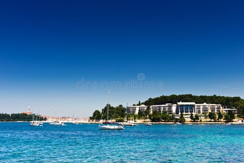 亚得里亚海的区海岸旅游胜地 免版税库存图片