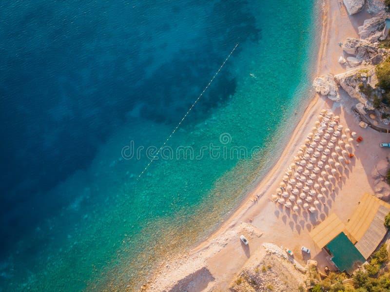 亚得里亚海的海岸的鸟瞰图,寄生虫射击 库存图片