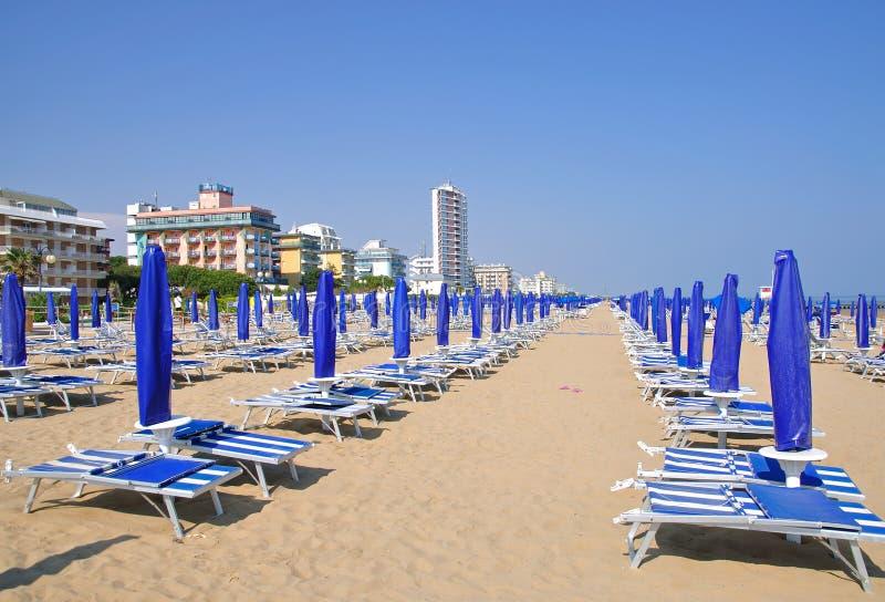 亚得里亚海的海滩二意大利jesolo lido 库存照片
