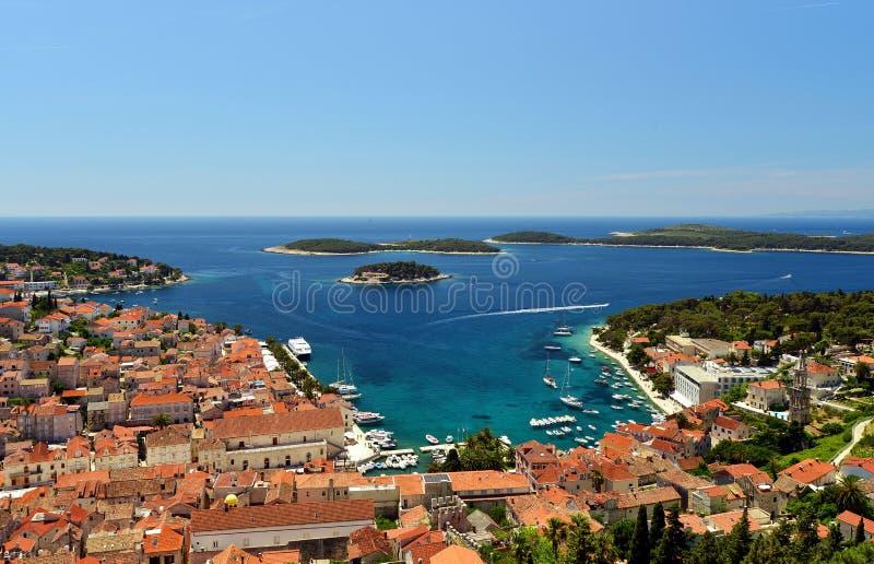 亚得里亚海的港口hvar海岛老城镇 库存照片
