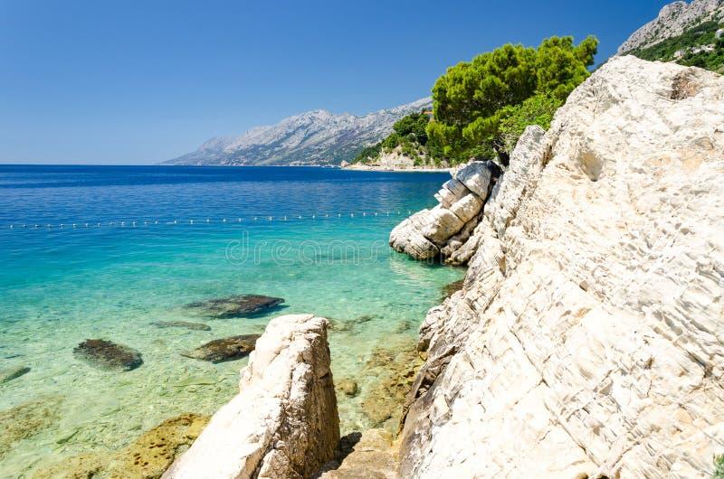 亚得里亚海透明的水在马卡尔斯卡的里维埃拉,达尔马提亚,克罗地亚Brela 库存照片