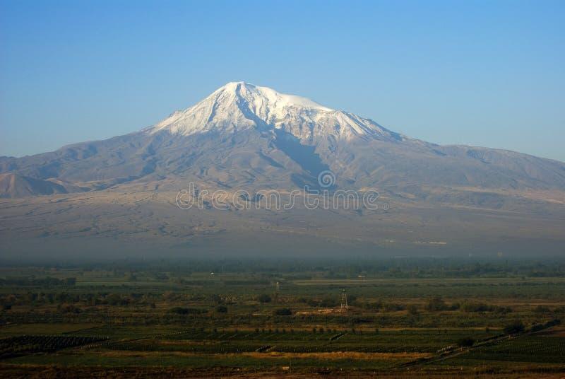 亚拉拉特山,从亚美尼亚的看法 库存照片