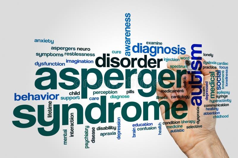 亚斯伯格综合症状词云彩概念 库存图片