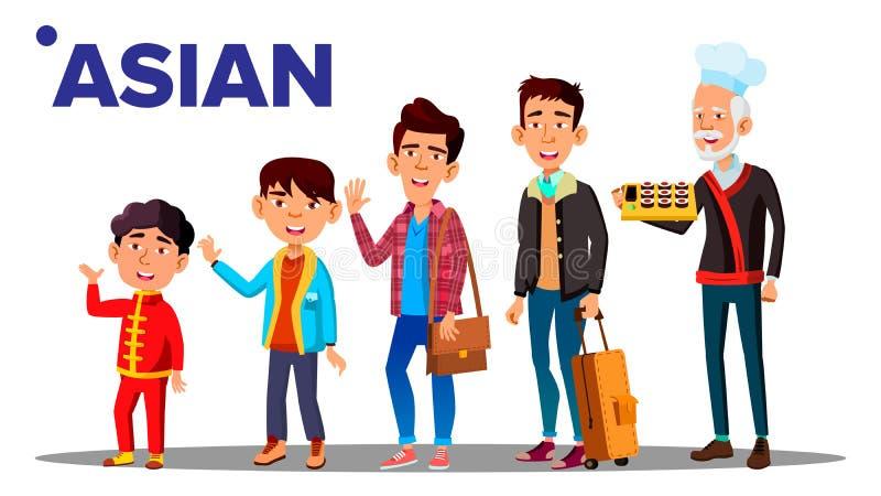 亚洲一代男性设置了人人传染媒介 亚裔祖父,父亲,儿子,孙子,婴孩传染媒介 向量 库存例证