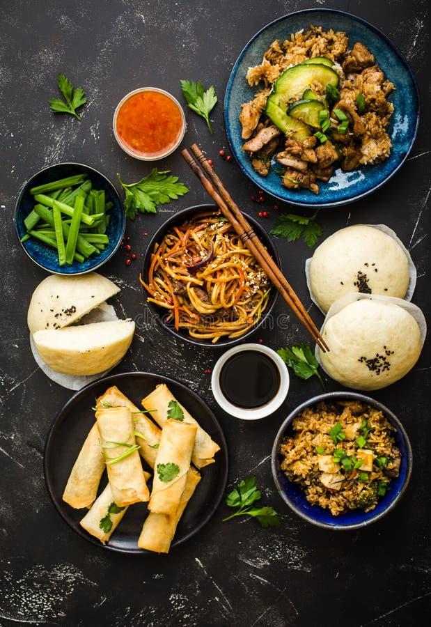 亚洲人分类了食物集合 免版税图库摄影