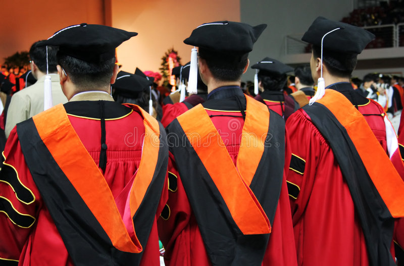亚洲人毕业三大学 图库摄影