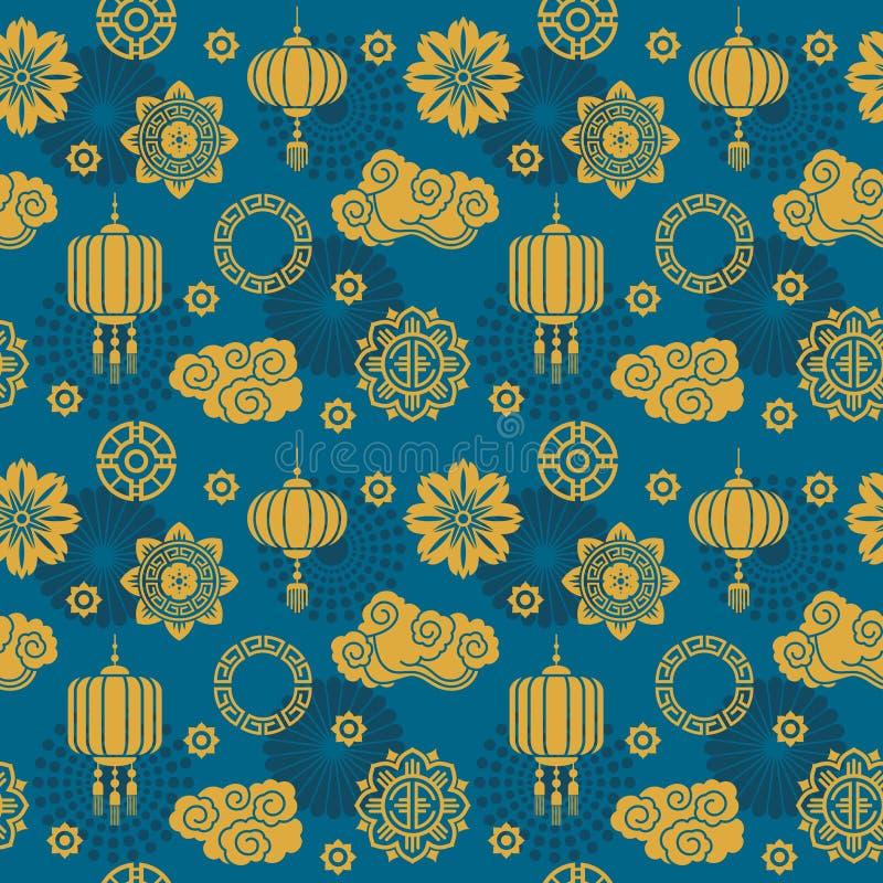 亚洲传染媒介装饰 中国和日本丝绸纺织品的主题无缝的样式 库存例证