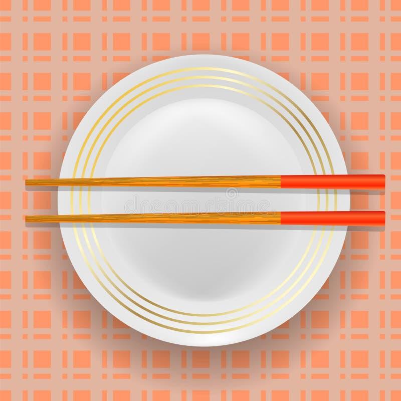 亚洲传统木筷子和板材 皇族释放例证