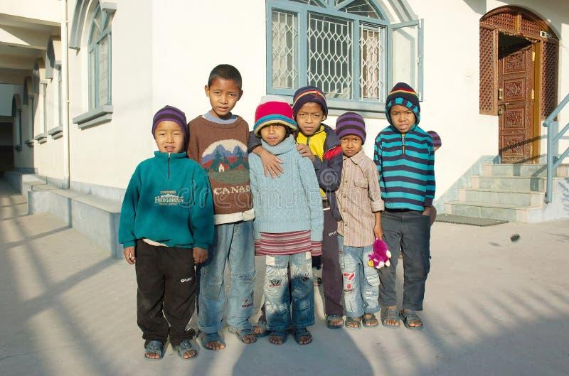 亚洲加德满都尼泊尔孤儿院 免版税库存照片