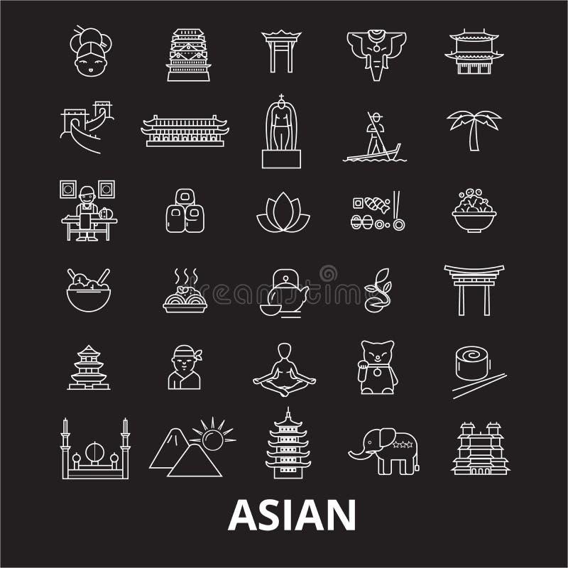 亚洲和亚洲编辑可能的线象导航在黑背景的集合 亚洲和亚洲白色概述例证,标志 库存例证