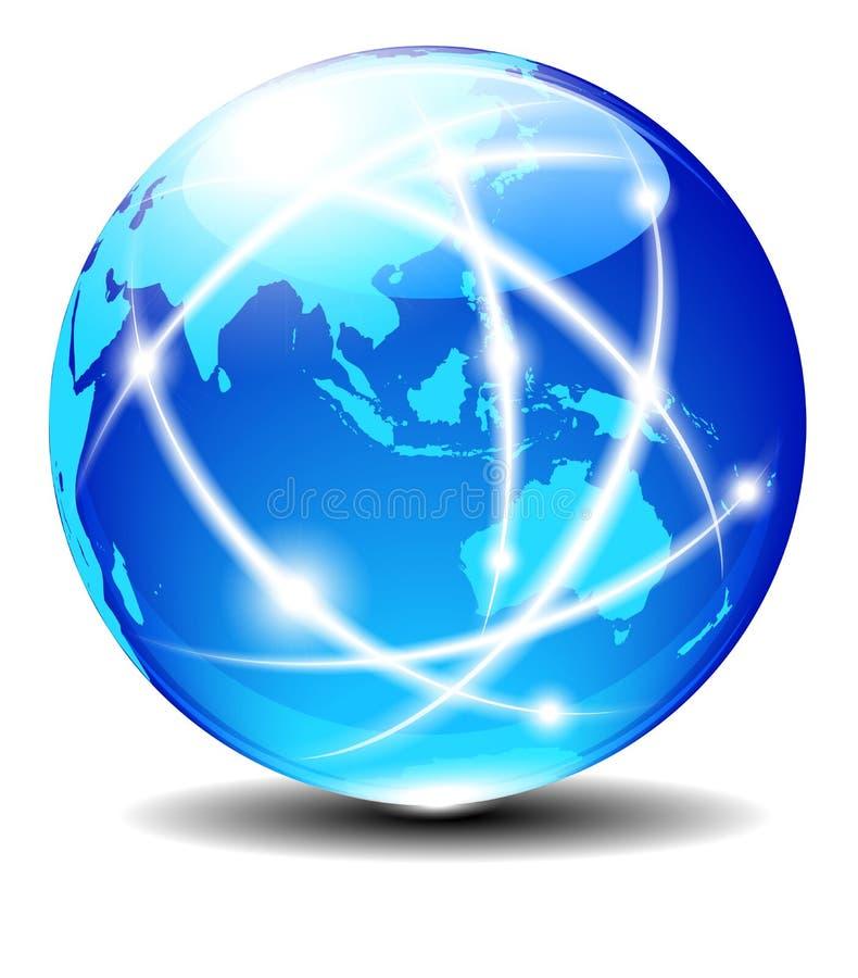 亚洲和澳大利亚,全球性通信行星数据 库存例证