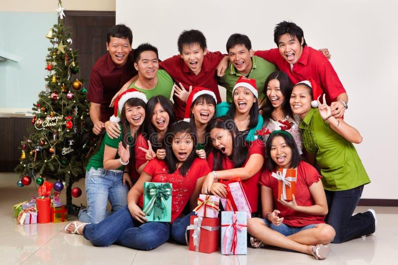 亚洲圣诞节组人射击 免版税库存图片