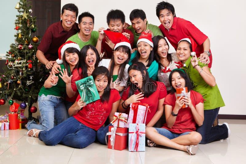 亚洲圣诞节组人射击 库存图片