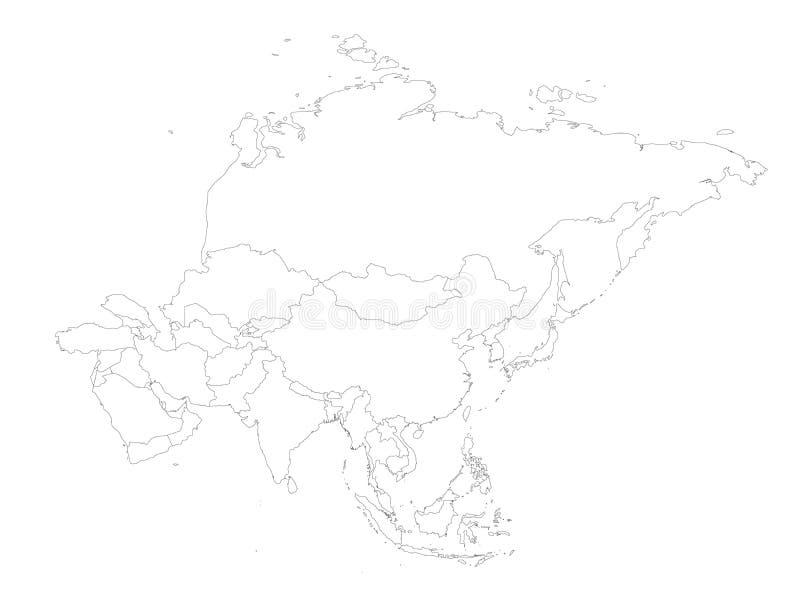 亚洲大陆空白的政治概述地图  也corel凹道例证向量 皇族释放例证