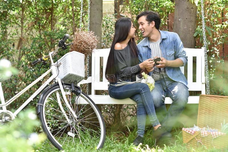 亚洲夫妇爱 库存照片