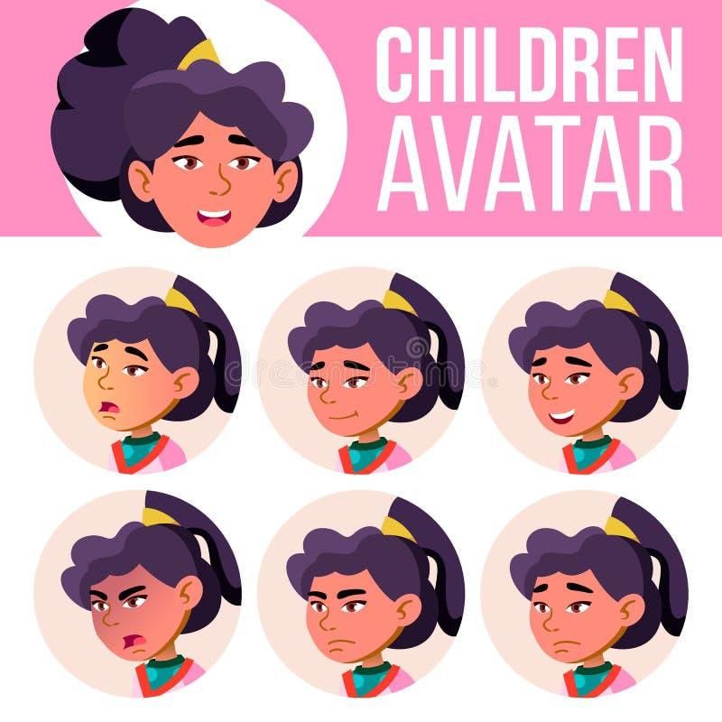 亚洲女孩具体化集合孩子传染媒介 男孩了解主要读的学校教师 面对情感 平,画象 青年时期,白种人 五颜六色的设计 皇族释放例证