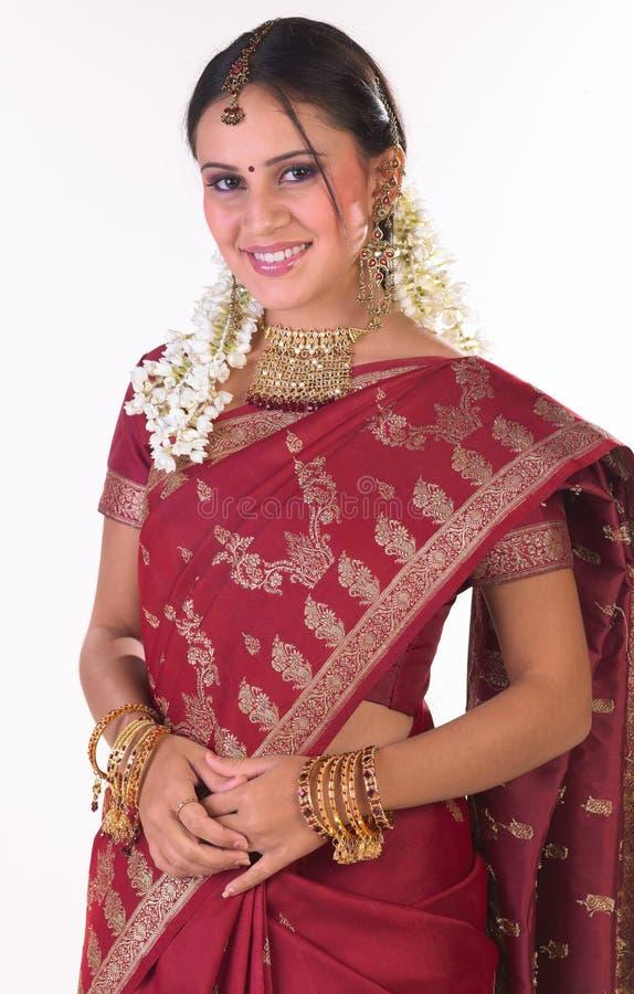 亚洲女孩富有的莎丽服丝绸年轻人 库存照片