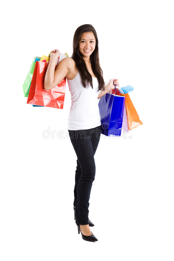 亚洲女孩购物 库存图片