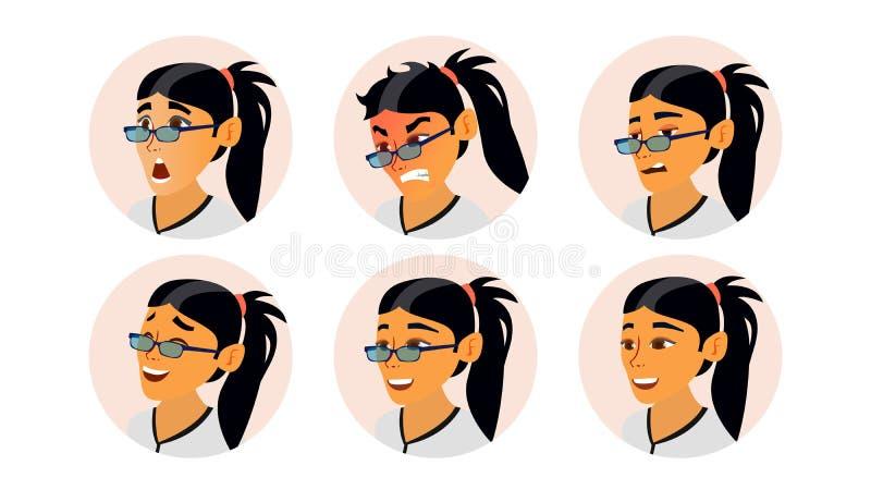 亚洲妇女具体化传染媒介 亚洲妇女面孔,被设置的情感 字符商人 动画片司令员枪他的例证战士秒表 向量例证