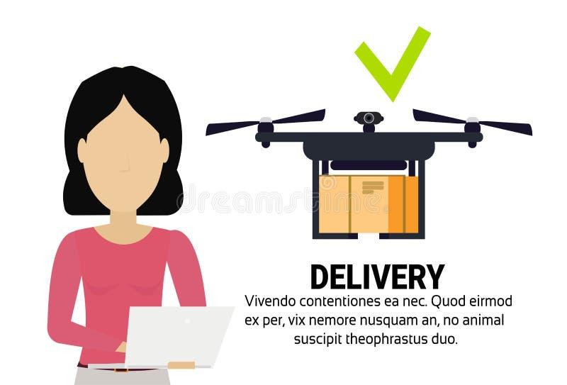 亚洲妇女操作员寄生虫飞行deo标记交付空气包裹流动应用发货运载quadcopter航海 库存例证