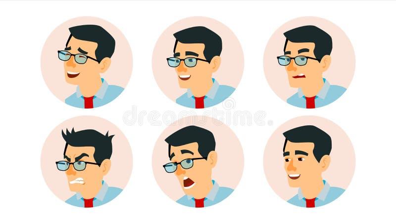 亚洲字符商人具体化传染媒介 亚洲人面孔,被设置的情感 创造性的具体化占位符 动画片 向量例证
