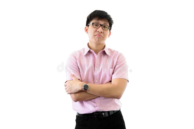 亚洲年轻商人在隔绝有与困惑的身分在wihte背景 免版税库存照片