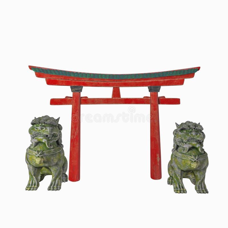亚洲建筑构成 鸟居曲拱和监护人的狮子 r 3d?? 库存照片