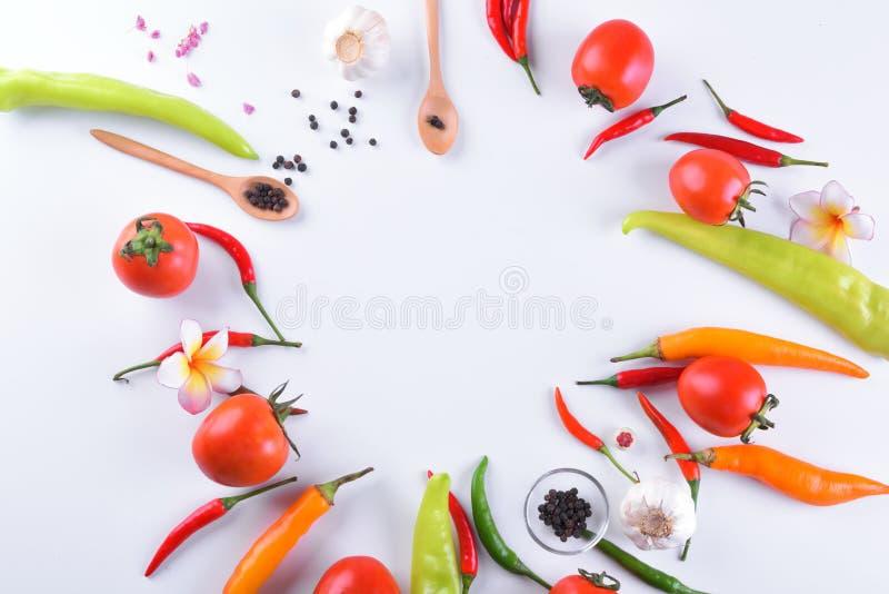 亚洲成份食物新鲜的香料菜蕃茄,辣椒,大蒜,胡椒,与空间的羽毛顶视图文本的 库存照片