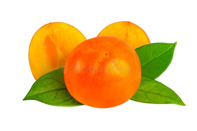 亚洲柿树或柿子在与裁减路线的白色结果实 图库摄影