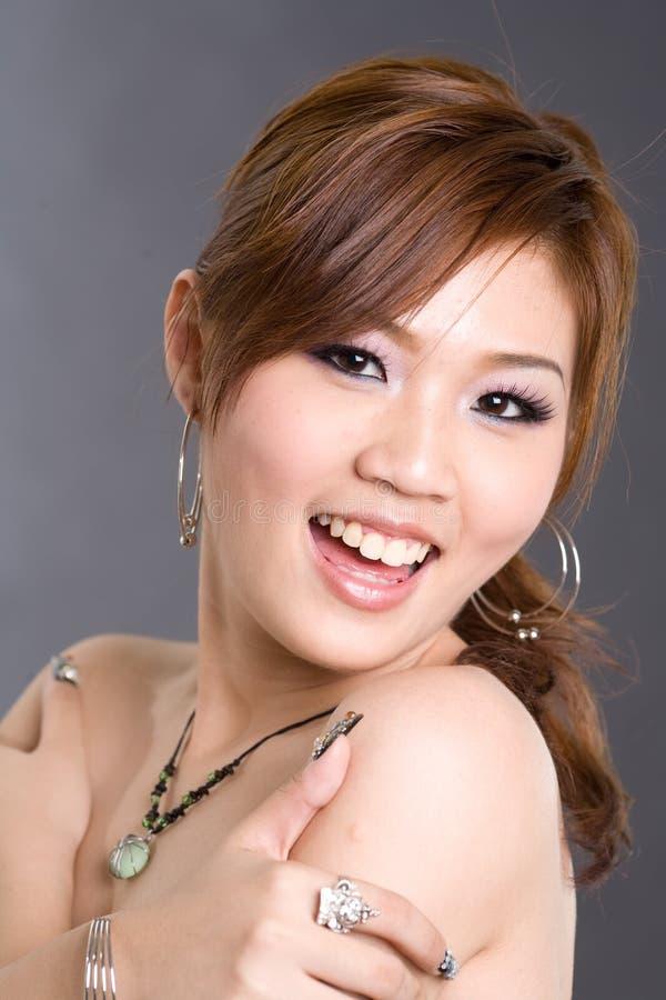 亚洲棕色女孩头发 库存图片