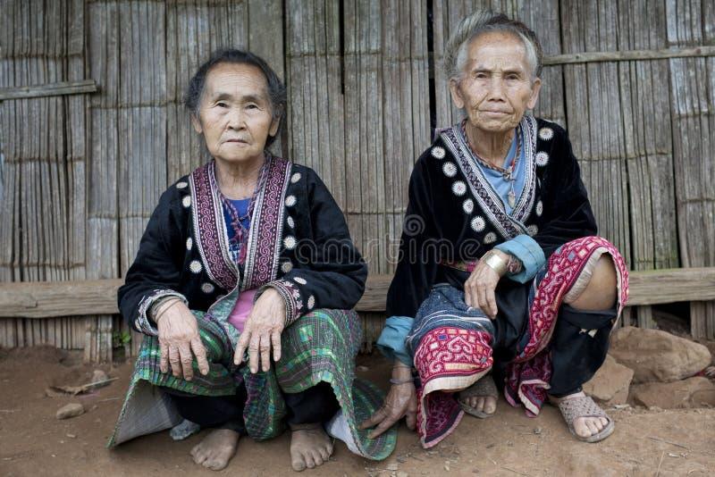 亚洲民族meo老妇人 免版税图库摄影