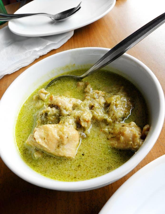亚洲泰国咖喱食物绿色东南的街道 库存图片