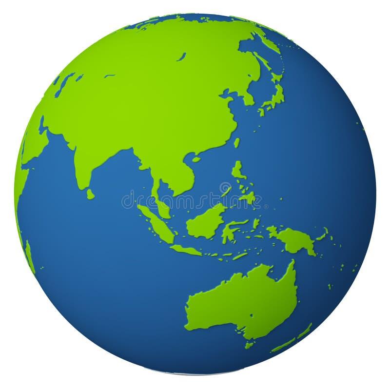亚洲澳洲地球 库存例证