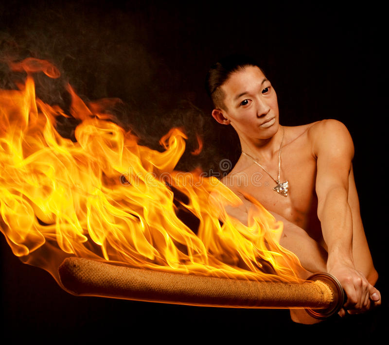 亚洲火人显示 库存照片