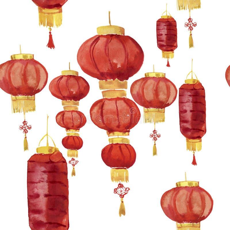 亚洲灯笼无缝的样式 无缝的水彩背景 E 库存照片