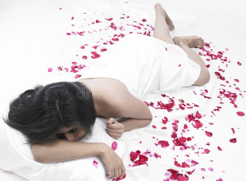 亚洲瓣玫瑰色妇女 库存照片