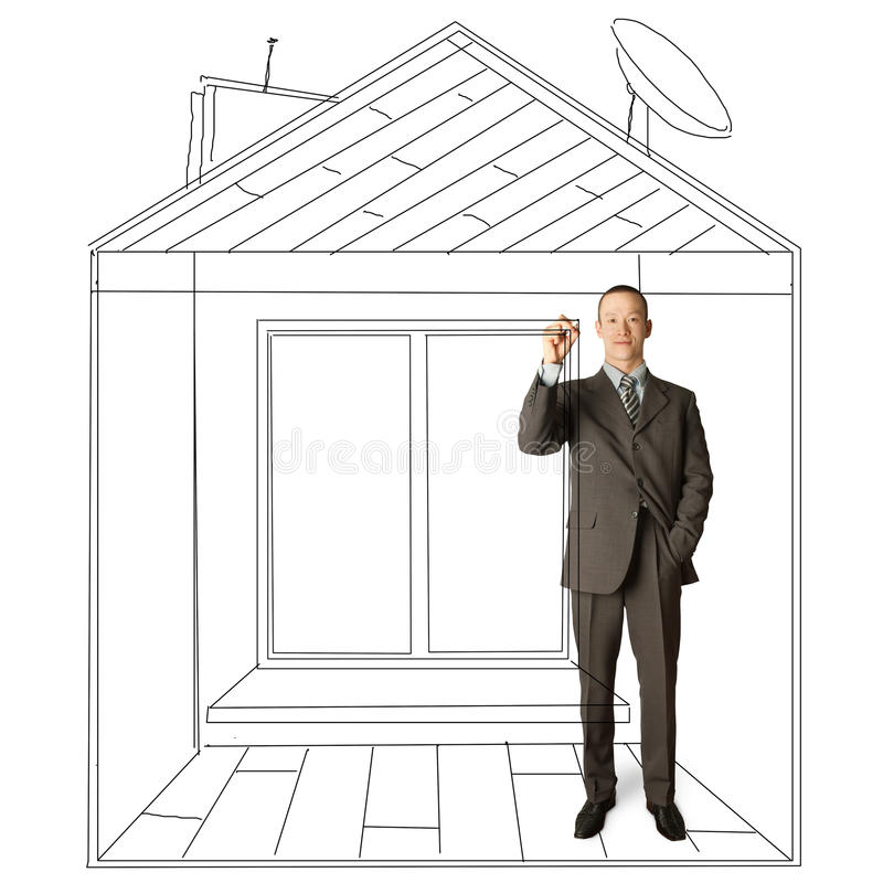 亚洲生意人虚构的房子标记 图库摄影