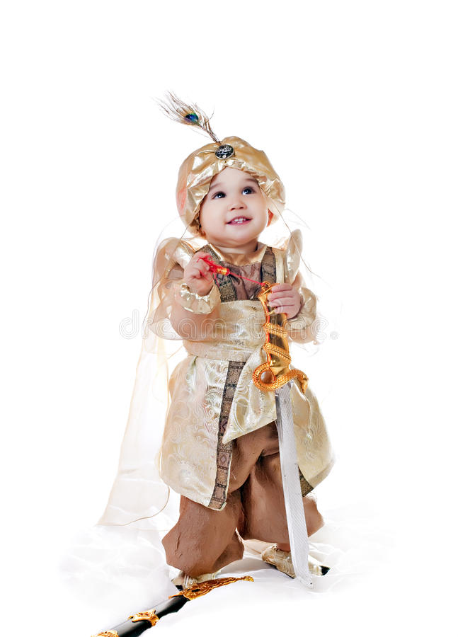 亚洲男婴礼服东部花梢 库存照片