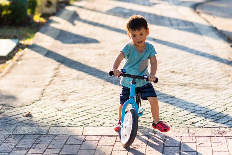 亚洲男孩乘驾平衡自行车在公园 免版税库存照片
