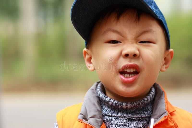 亚洲男孩哭泣 库存照片