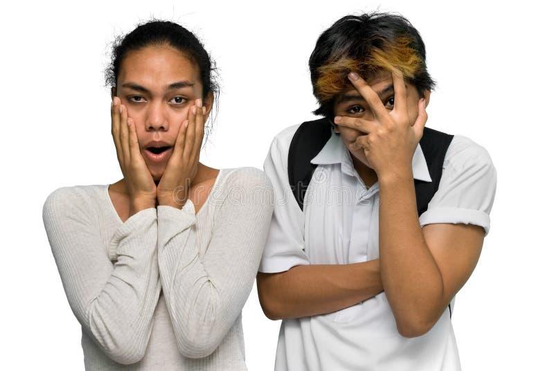 亚洲男孩夫妇emo震惊青少年 免版税库存照片