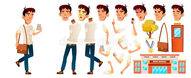 亚洲男孩男小学生孩子传染媒介 高中孩子 动画创作集合 面孔情感,姿态 学校学生 库存例证