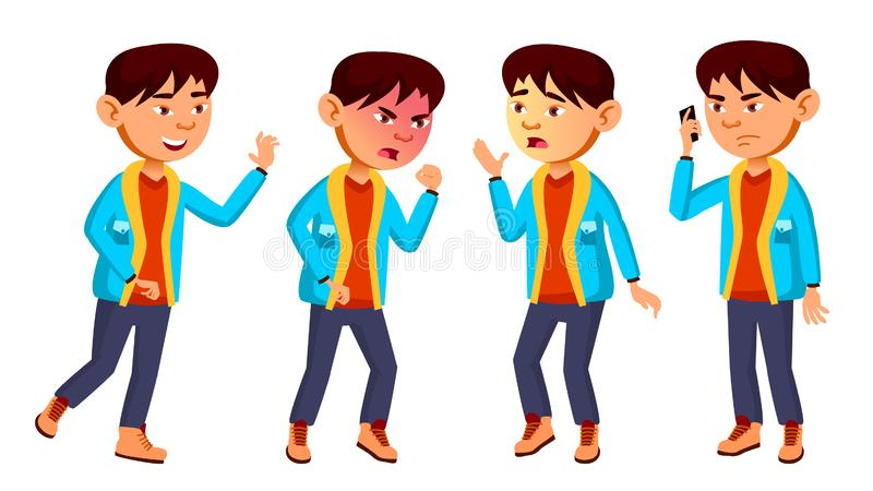 亚洲男孩男小学生孩子摆在集合传染媒介 小学孩子 友谊 对网,小册子,海报设计 查出 皇族释放例证