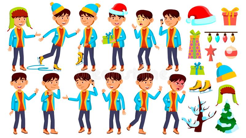 亚洲男孩男小学生孩子摆在集合传染媒介 Chrastmas,新年 青年时期,白种人 对卡片,广告,问候 皇族释放例证