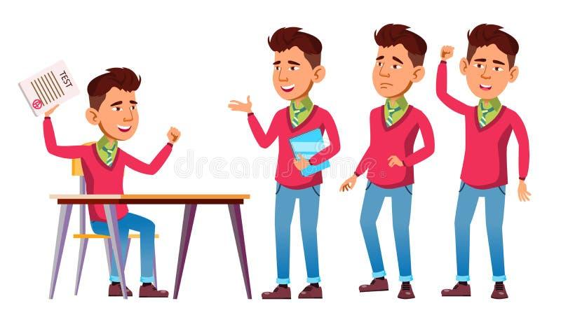 亚洲男孩男小学生集合传染媒介 高中孩子 学童 滑稽,友谊,幸福享受 对网,海报 皇族释放例证