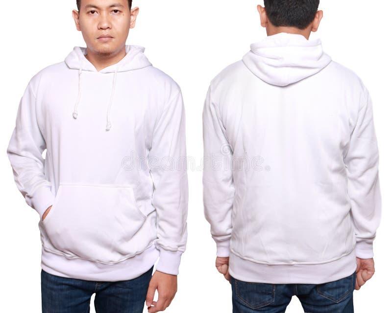 亚洲男性式样穿戴平原白色长袖的毛线衣sweatshir 免版税库存照片