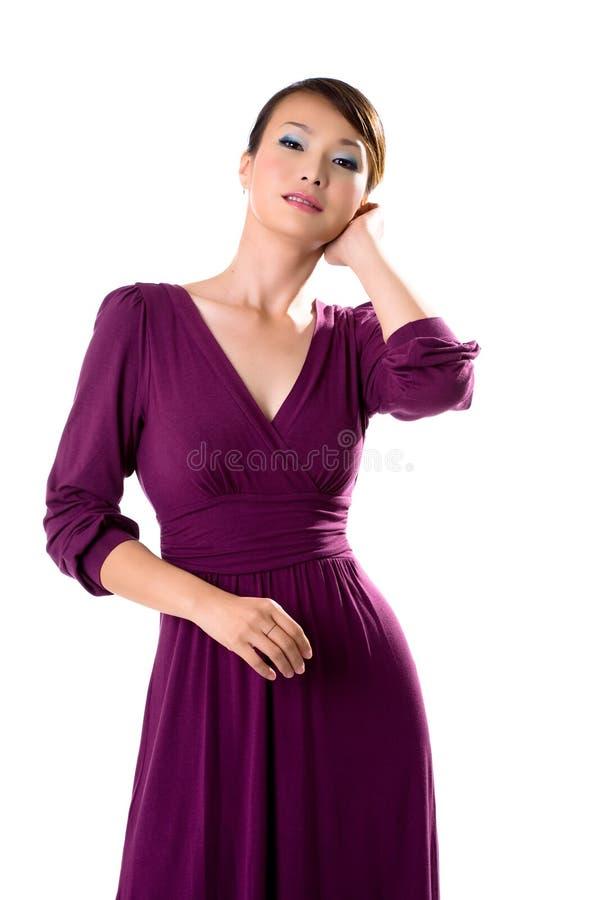 亚洲礼服女孩紫色 库存图片