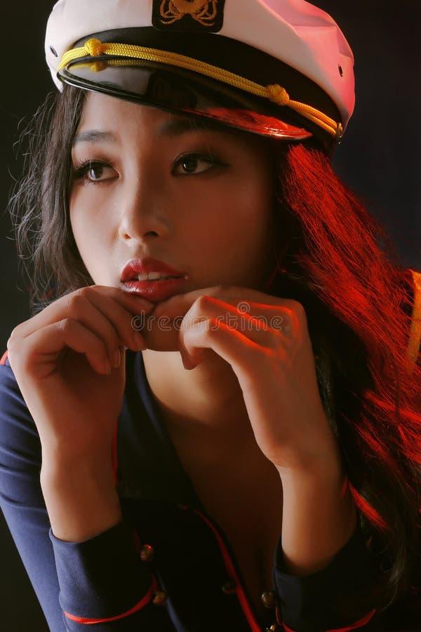 亚洲秀丽愁苦的眼睛 图库摄影
